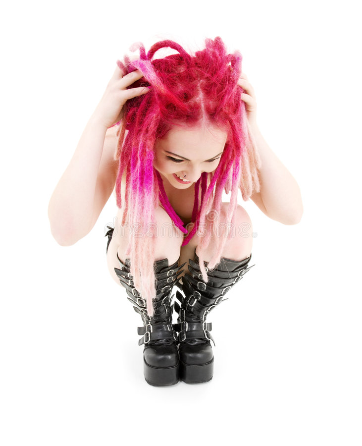 Pink hair girl in high boots stock photo