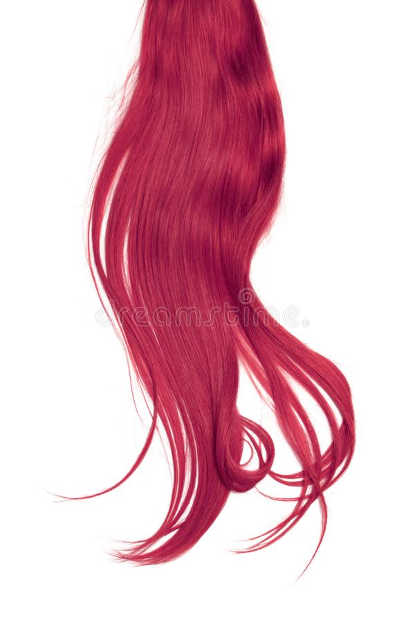 Pink hair isolated on white background. Long disheveled ponytail. Natural healthy hair isolated on white background. Detailed clipart for your collages and royalty free stock photography