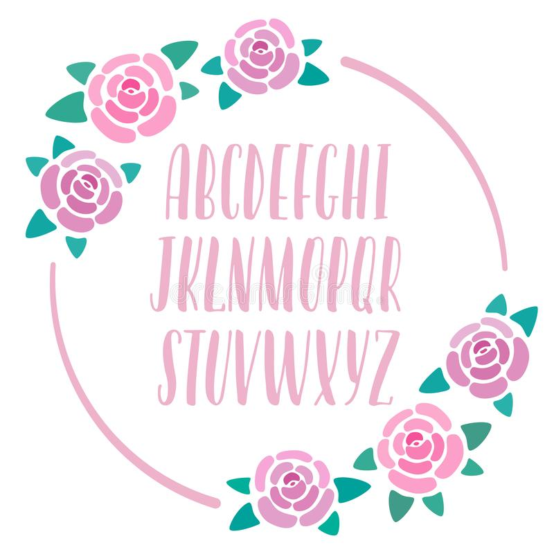 Pink hand-drawn alphabet with roses decoration, modern lettering, capital calligraphic letters, font for banners, cards stock illustration