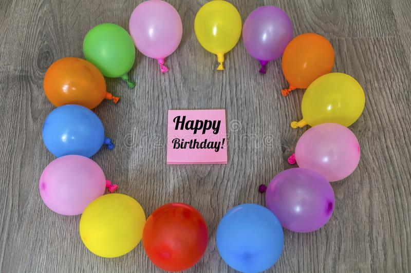 Pink Happy Birthday Card with Balloons royalty free stock photos