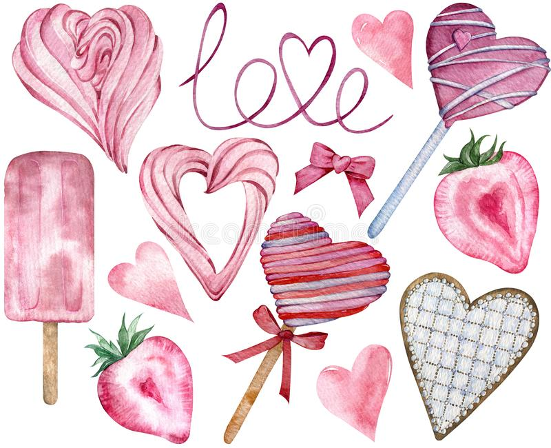 Pink Happy Valentine`s Day Candy Hearts. Watercolor hand-drawn heart-shaped sweet elements. stock illustration