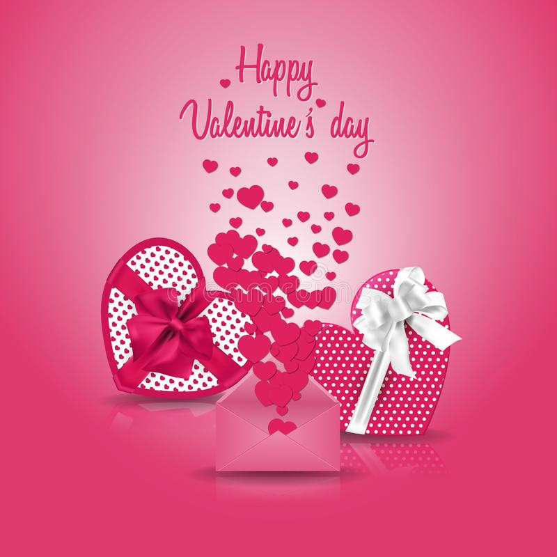 Pink Happy Valentine`s day greeting card royalty free stock images