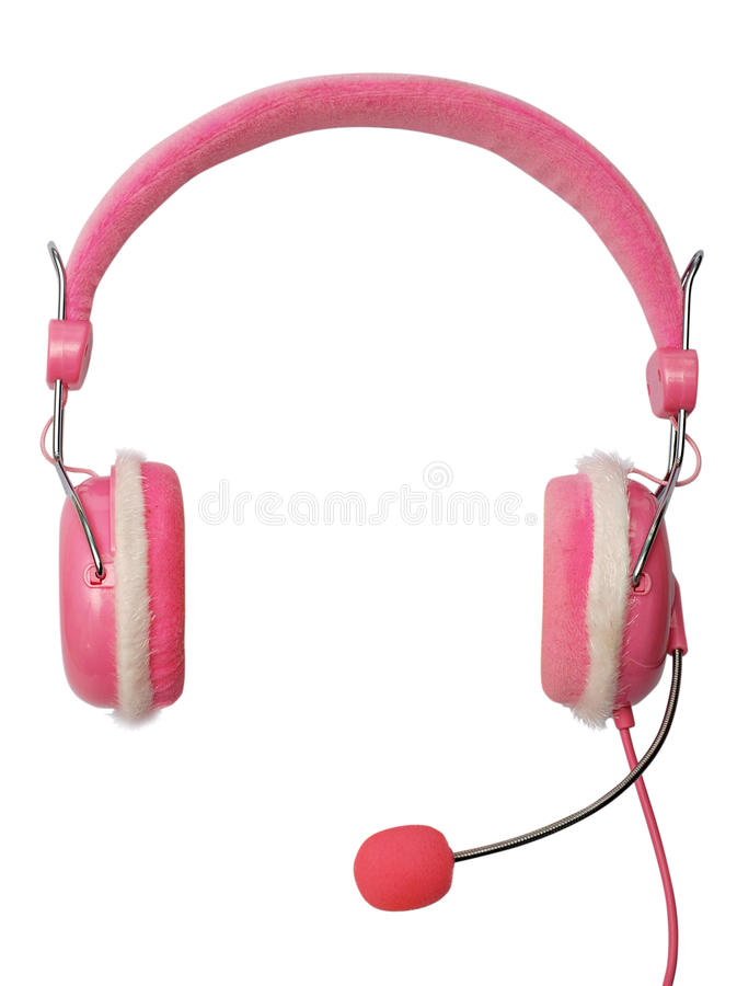 Pink headphone isolated stock images