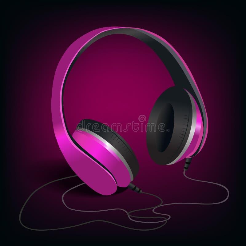 Download Pink Headphones On Purple Background Stock Vector - Illustration of headphones, background: 39503323