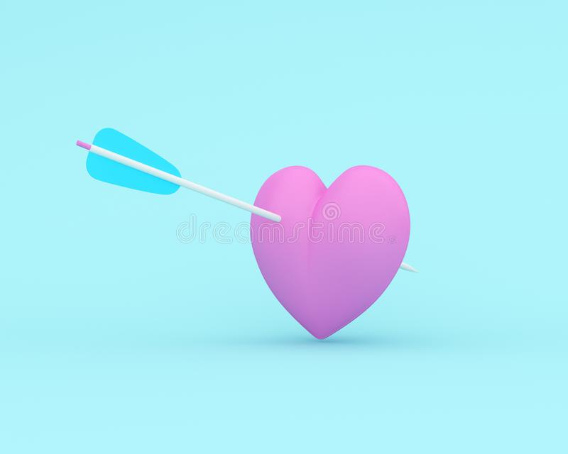 Pink heart with arrow on blue pastel background. minimal special occasion concept. idea of love and valentine day.  stock illustration