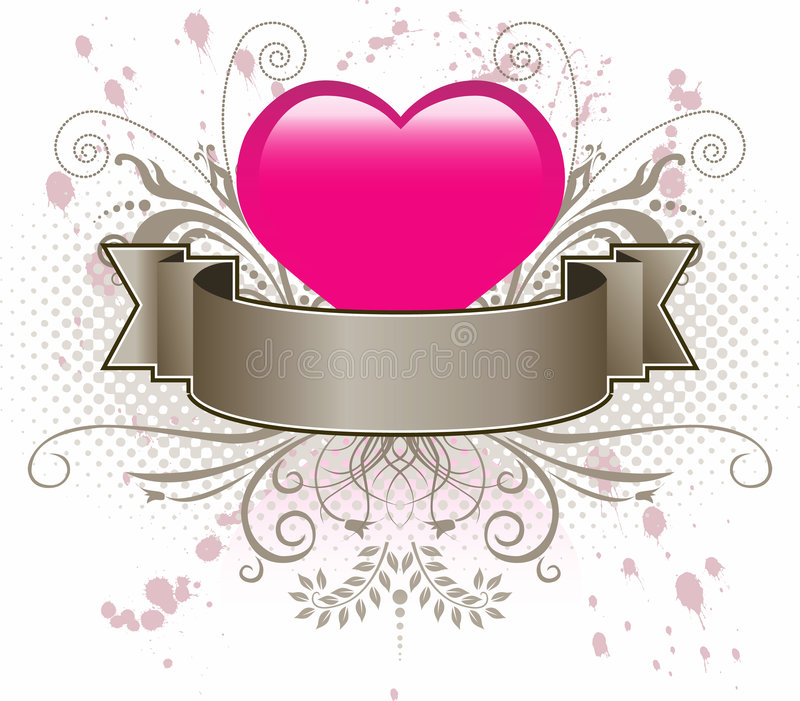 Pink Heart And Banner Royalty Free Stock Image