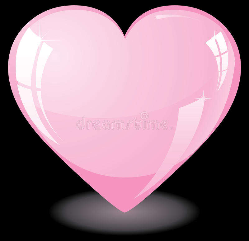 Pink Heart On Black Background Royalty Free Stock Photo