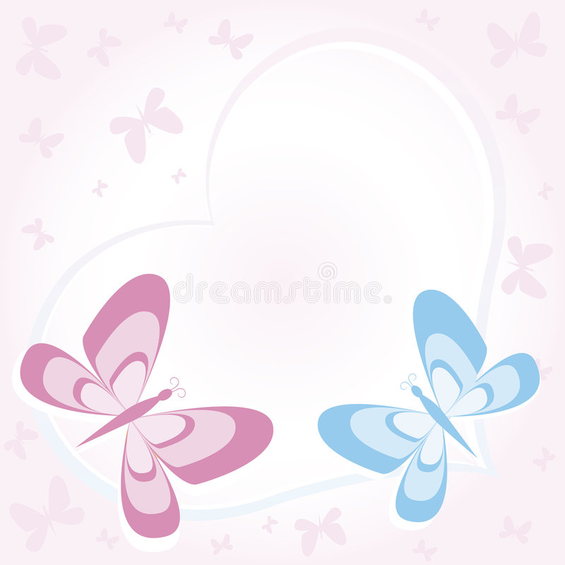 Pink heart with butterflies royalty free stock image