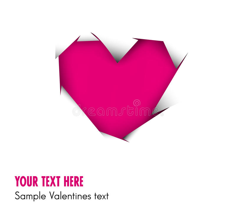 Pink Heart Cut Out Of White Paper Stock Photos