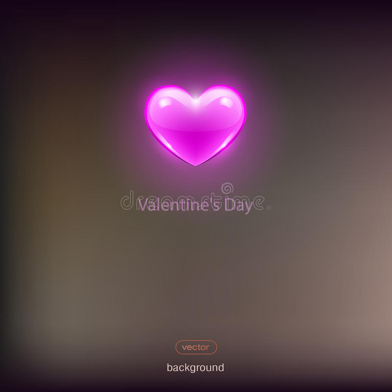 Pink heart on a dark background. Glass heart royalty free stock photography