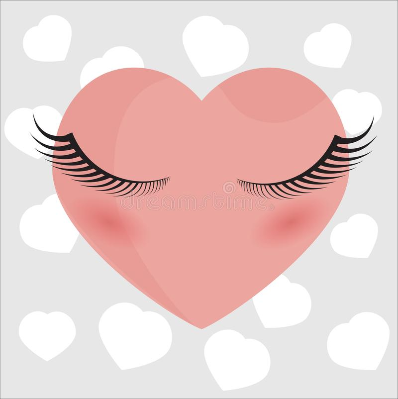 Pink heart with eyelashes on a gray background. Pink heart with long black eyelashes on a gray background with hearts. Lashmaker. Valentine`s Day stock illustration