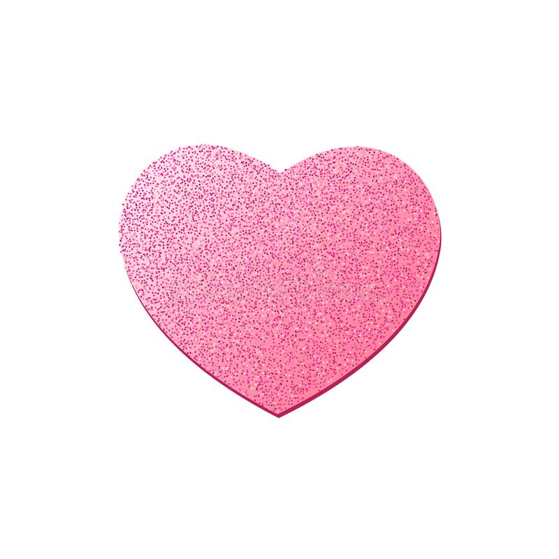 Pink heart from glitters isolated on white background. Happy Valentines Day. Luxury heart. Graphic element for your design. Vector royalty free stock images