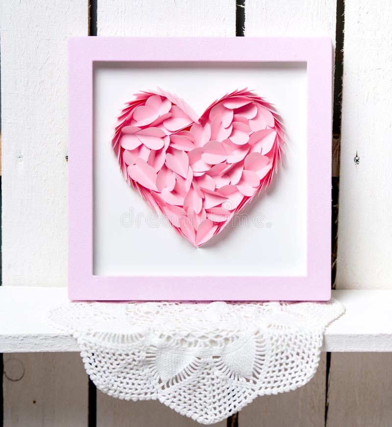 Pink heart. S for Valentine's Day royalty free stock photography