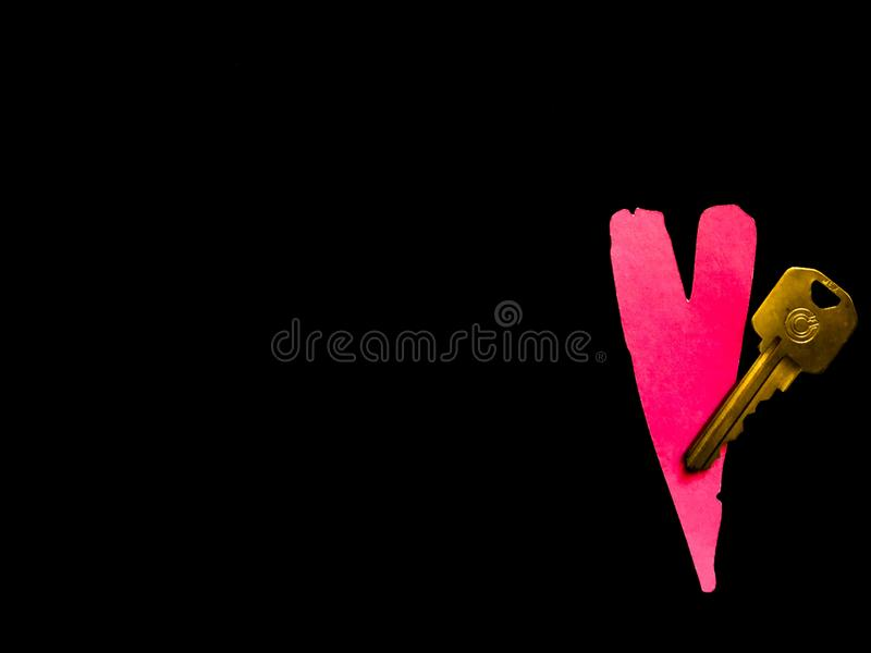 Pink Heart and Key royalty free stock image