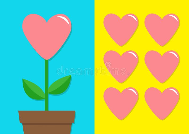 Pink heart icon set. Flower pot. Cute plant collection. Love card. Growing concept. Flat design. Bright blue yellow background. Ha. Ppy Valentines Day Template stock illustration