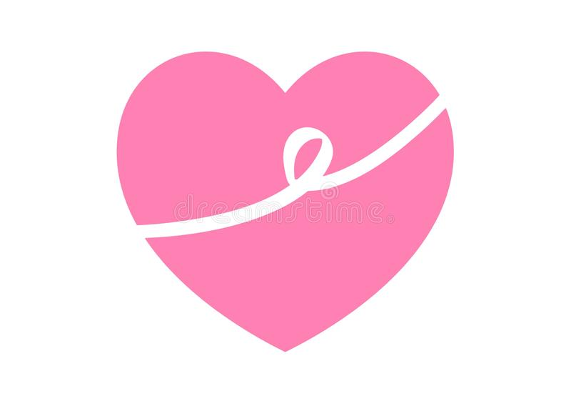 Pink heart logo design on white background vector illustration