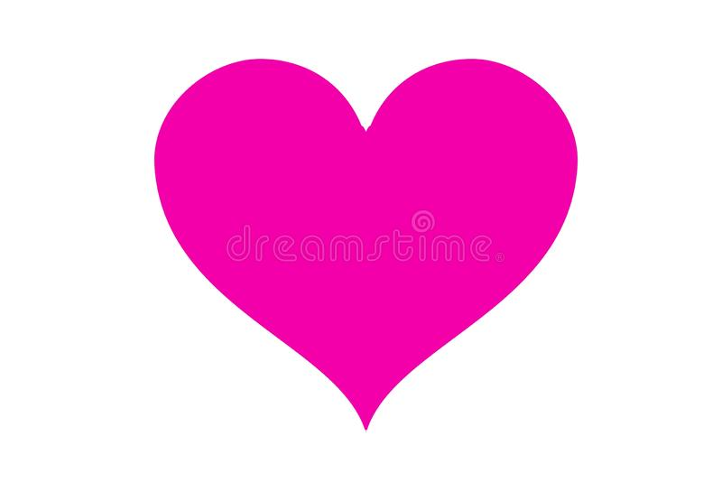 Pink heart logo isolated on white background. Illustration design. Simple, modern, love, couple, wedding, symbol, creative, graphic, element, card, greeting stock photo