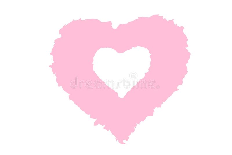 Pink heart logo on white background. Illustration design. Color, shape, brush, element, creative, graphic, new, single, symbol, love, day, valentines, card stock photo
