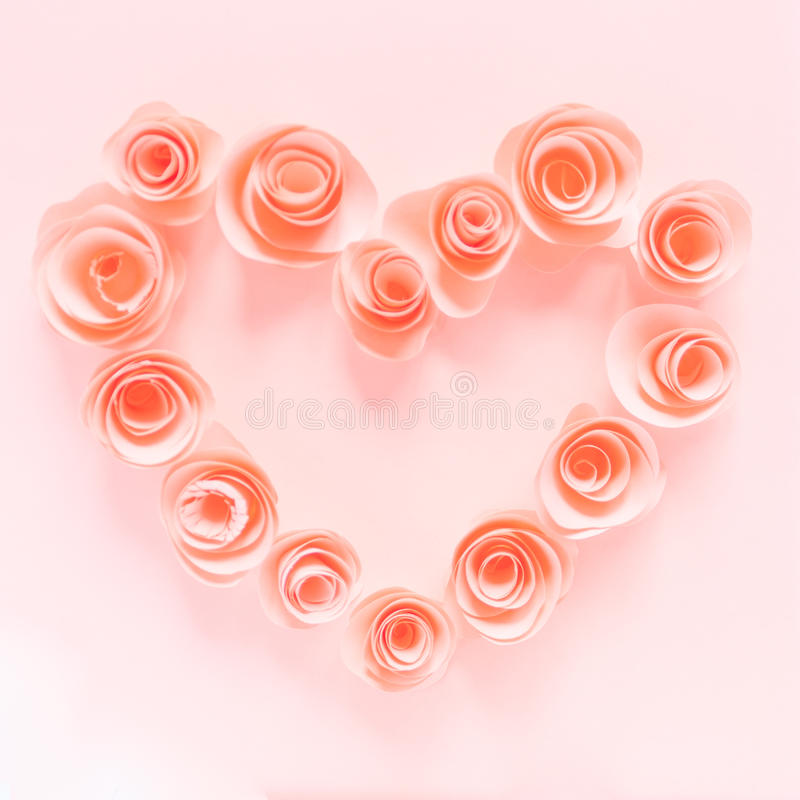 Pink heart made of paper flowers royalty free stock photos
