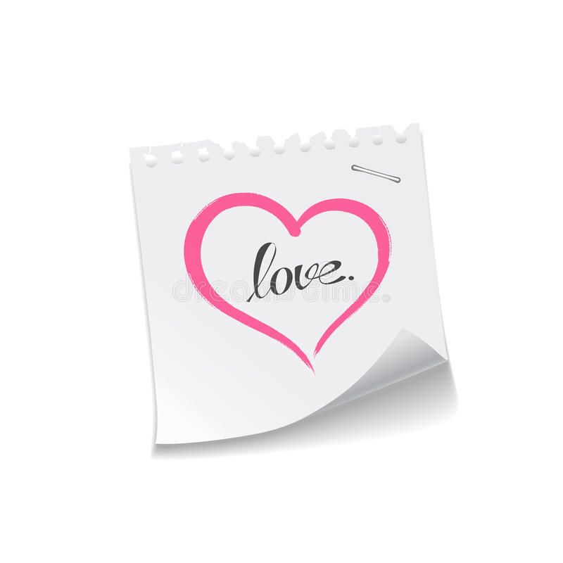 Pink heart paper note love message