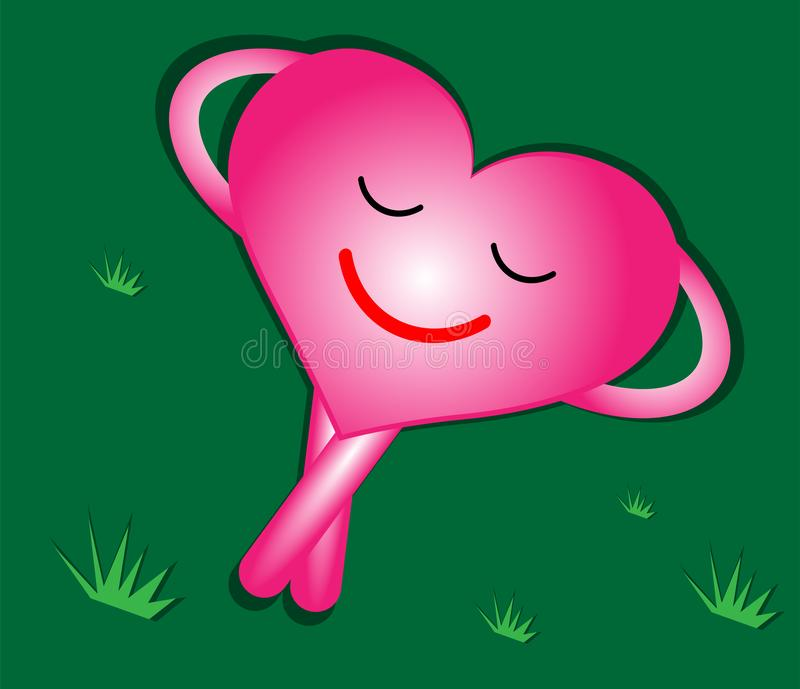 `Pink heart resting with a smiling face on the green grass.Living with a heart full of happiness.The heart is full of love and hap stock illustration