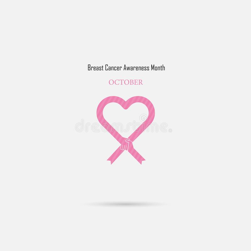 Pink heart ribbon sign.Breast Cancer October Awareness Month Cam royalty free illustration