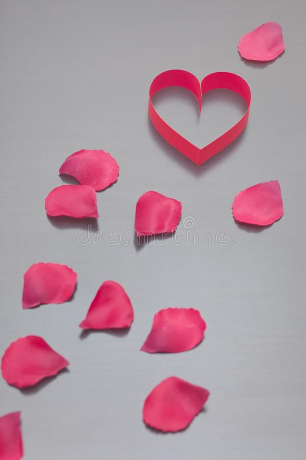 Pink heart and rose petals on a gray background. royalty free stock photos