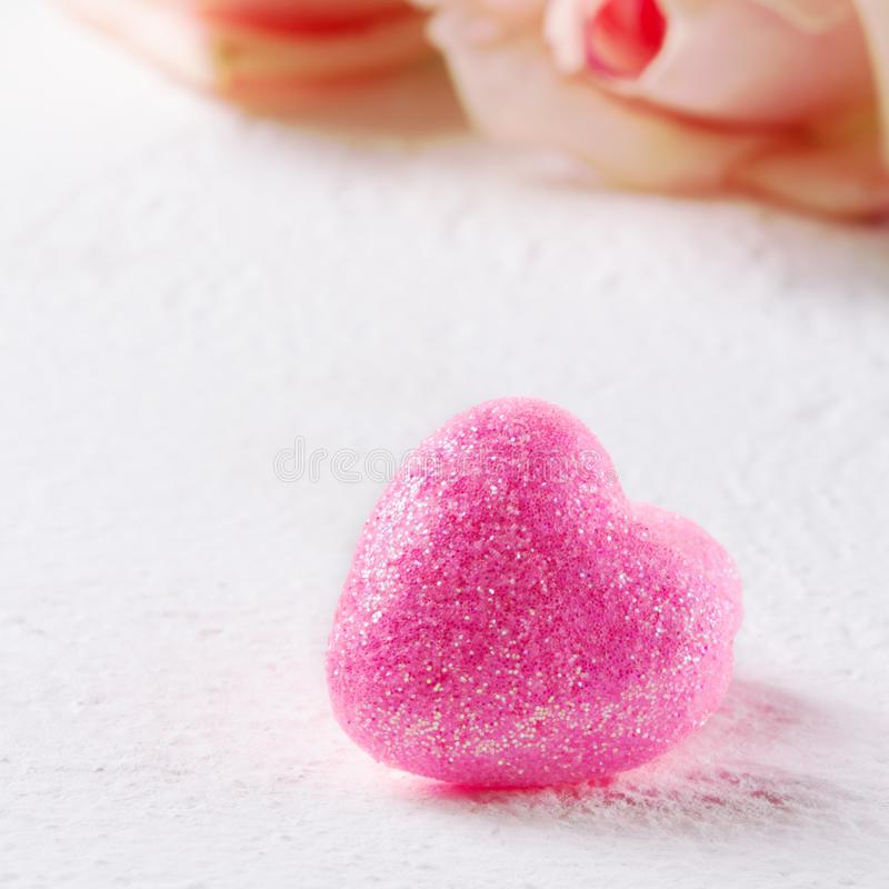 Pink heart and roses. Valentine`s Day. White background royalty free stock photos