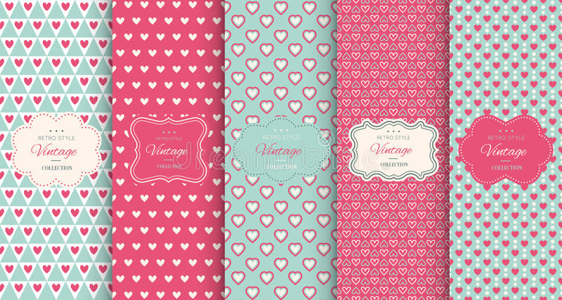 Pink heart seamless pattern background stock illustration