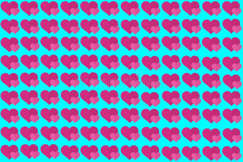 Pink Heart Shape on Blue Background. Hearts Dot Design. Can be used for Articles, Printing, Illustration purpose, background, royalty free illustration