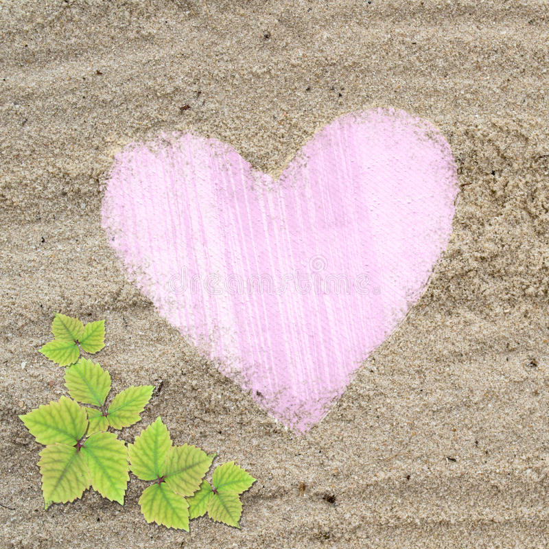 Download Pink Heart Shape Frame In Sand Beach Texture Stock Image - Image: 26522167