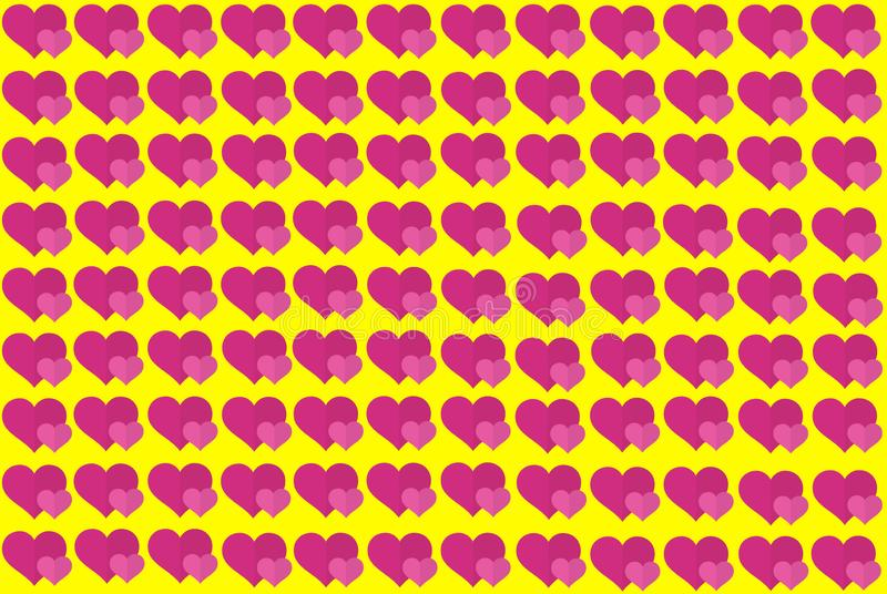 Pink Heart Shape on Yellow Background. Hearts Dot Design. Can be used for Articles, Printing, Illustration purpose, background, stock illustration