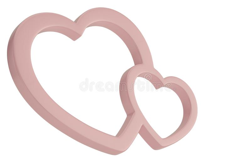 Pink heart shaped frame isolated on white background 3D illustration.  vector illustration