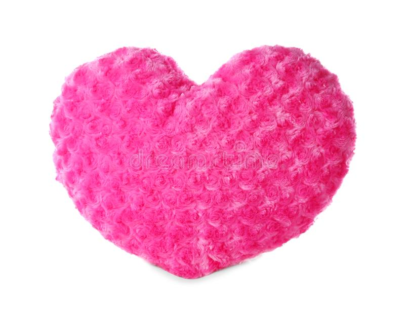 Pink heart shaped pillow, isolated royalty free stock photography