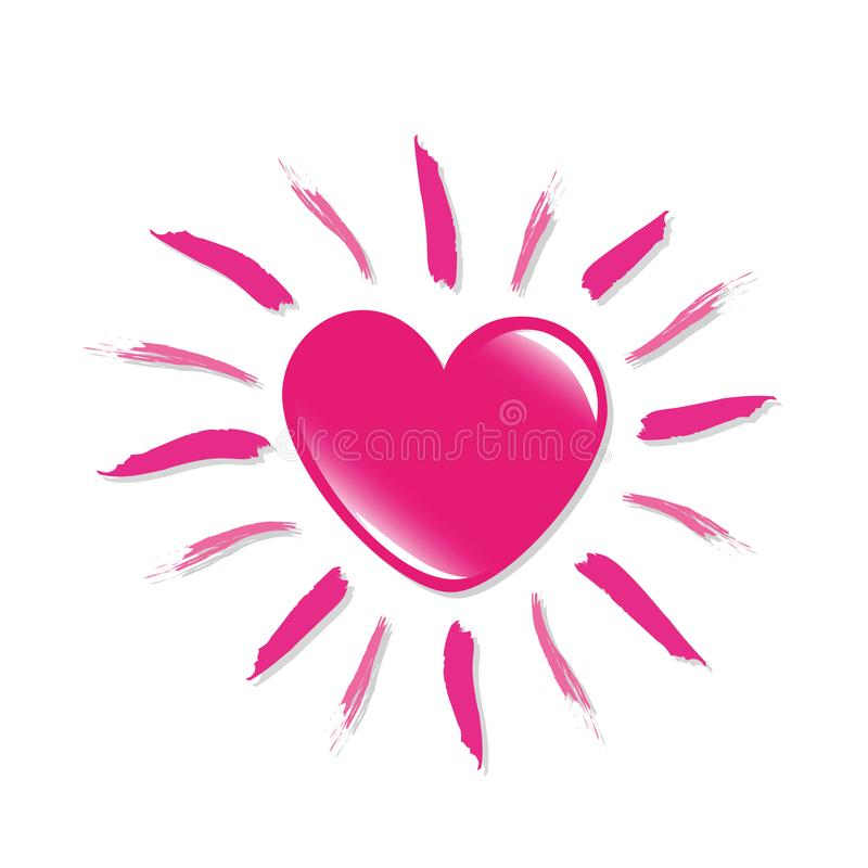 Pink heart shaped sun isolated on white backgound royalty free illustration