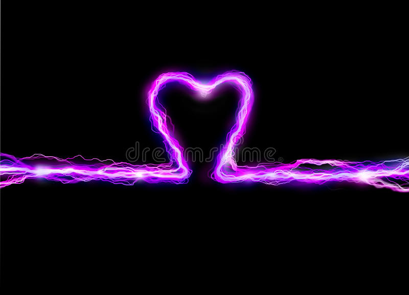 Pink heart spark. Pink heart plasma spark illustration stock photo