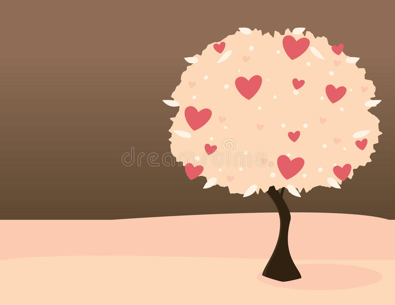 Download Pink heart tree stock vector. Image of tree, plant, illustration - 12757051