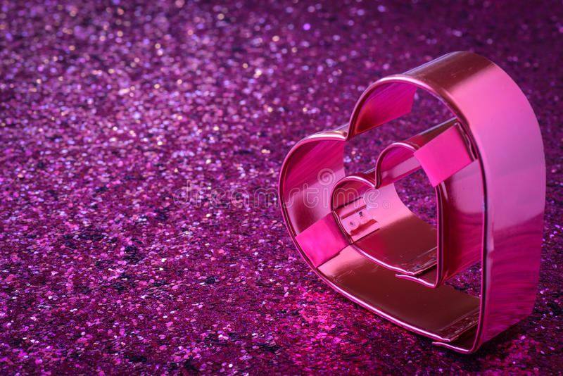 Pink Heart for Valentines Day. Pink Heart with Glitter Background for Valentines Day royalty free stock images