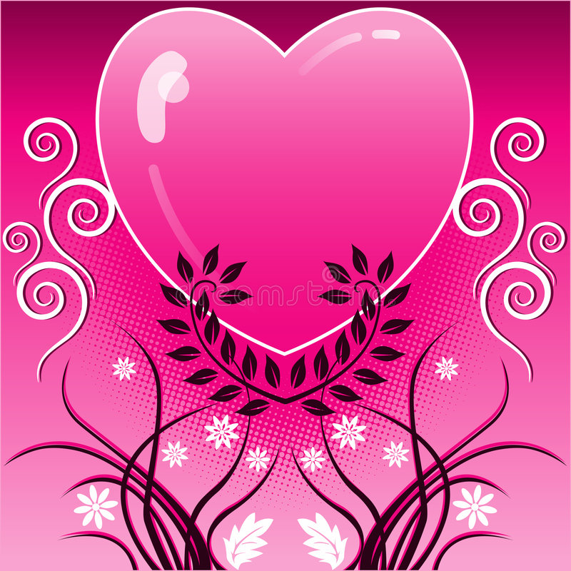 Download Pink heart and vines stock vector. Image of design, heart - 5678725
