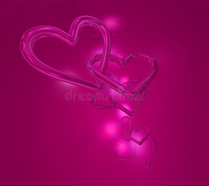 Pink hearts stock illustration