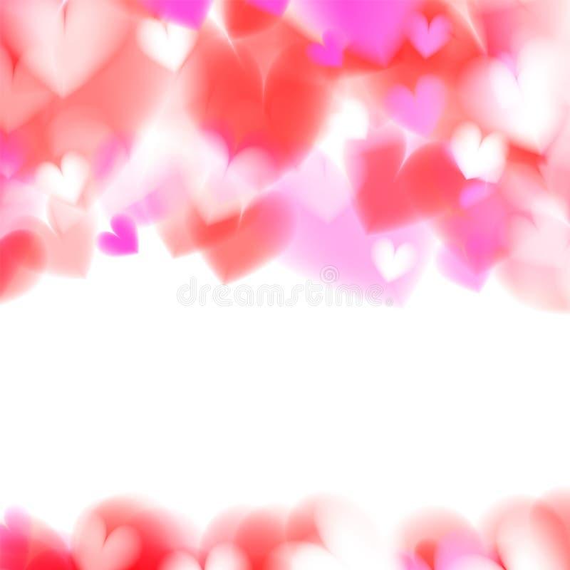 Pink hearts bokeh light Valentine`s day background eps 10. stock illustration