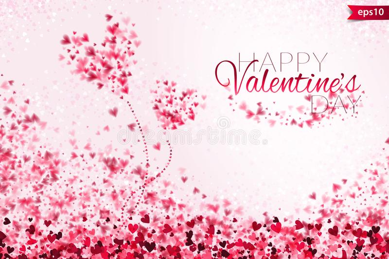 Pink hearts bokeh light Valentine`s day background eps 10. Tender backdrop with colorful hearts. Romantic colorful vector illustration