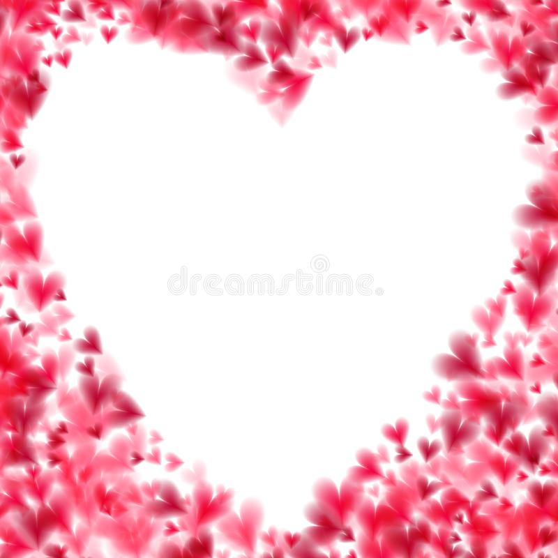 Pink hearts bokeh light Valentine`s day background eps 10. Tender backdrop with gradually changing color hearts vector illustration