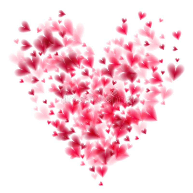 Pink hearts bokeh light Valentine`s day background with large heart shape eps 10. Tender backdrop with gradually stock illustration
