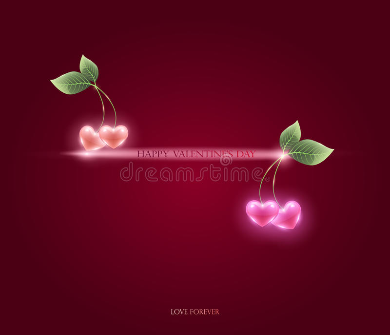 Pink hearts and cherry leaf, vector. congratulations on Valentin vector illustration