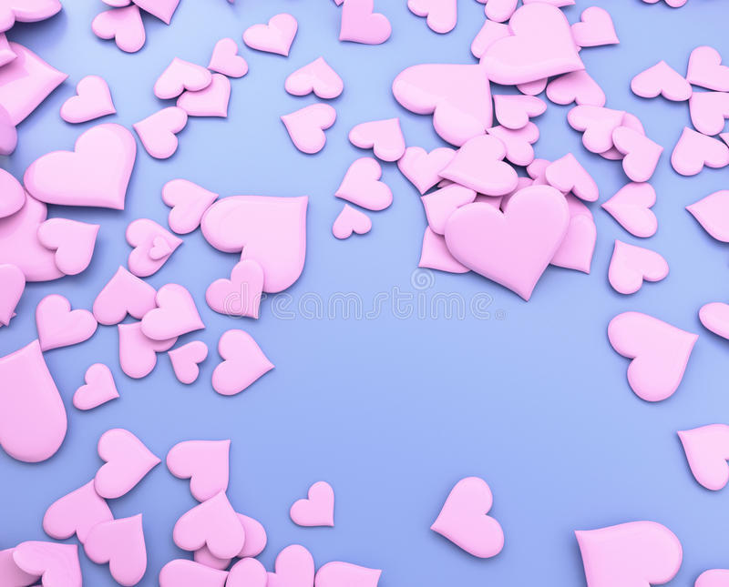 Pink hearts - 3d illustration stock photography