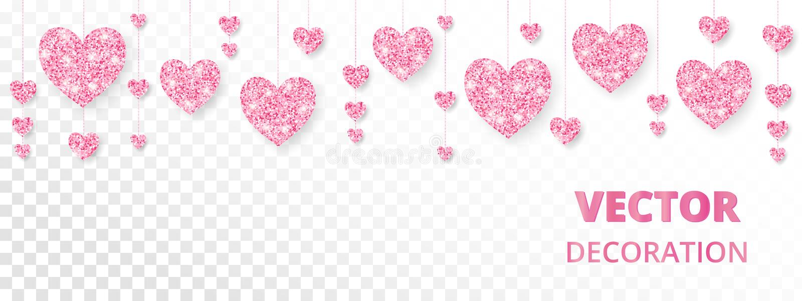 Pink hearts frame, border. Vector glitter isolated on white. For Valentine and Mothers day cards, wedding invitations. royalty free illustration