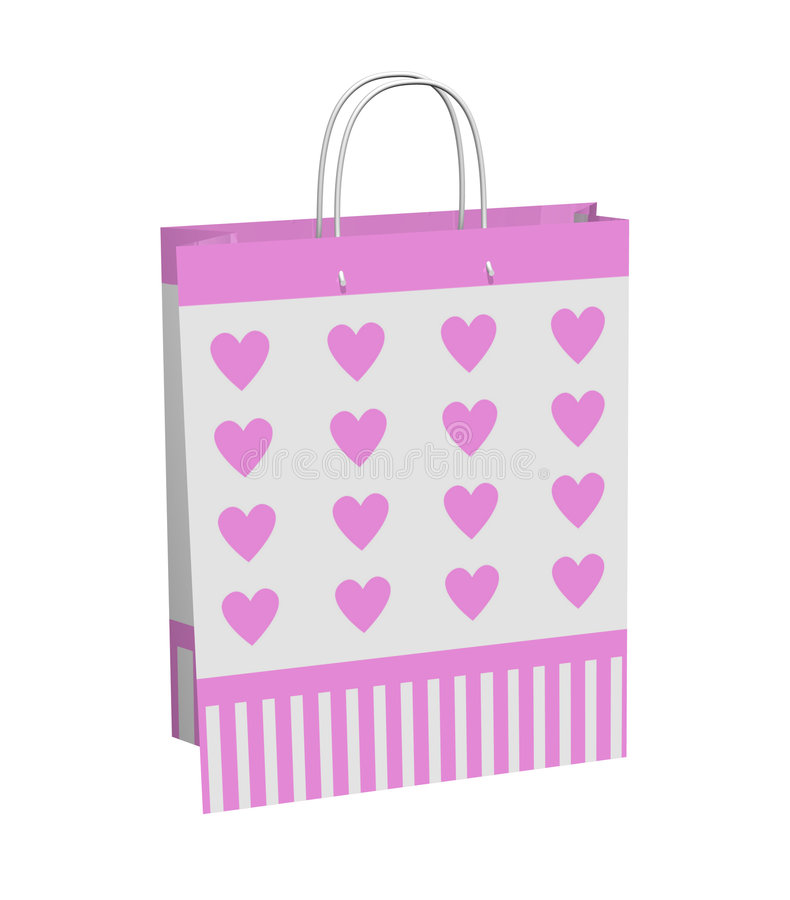 Pink Hearts Gift Bag Royalty Free Stock Images
