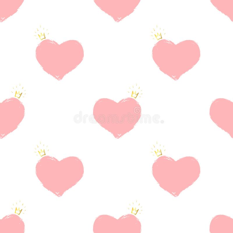 Pink hearts with a golden crown. Seamless pattern vector illustration