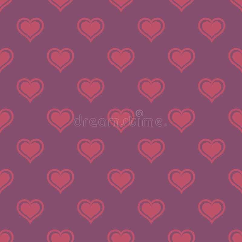 Pink hearts love seamless background pattern, Valentine day royalty free illustration